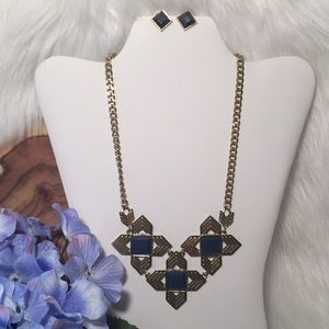 Navy and Gold Tone Necklace and Earrings.